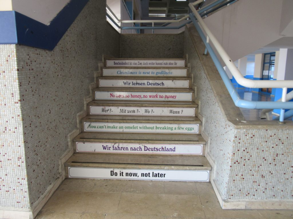 78. The stairs in the school